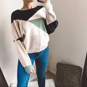 joie - wool/cashmere colorblock pullover sweater